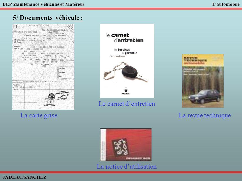 5/ Documents véhicule : Le carnet d'entretien. La carte grise.