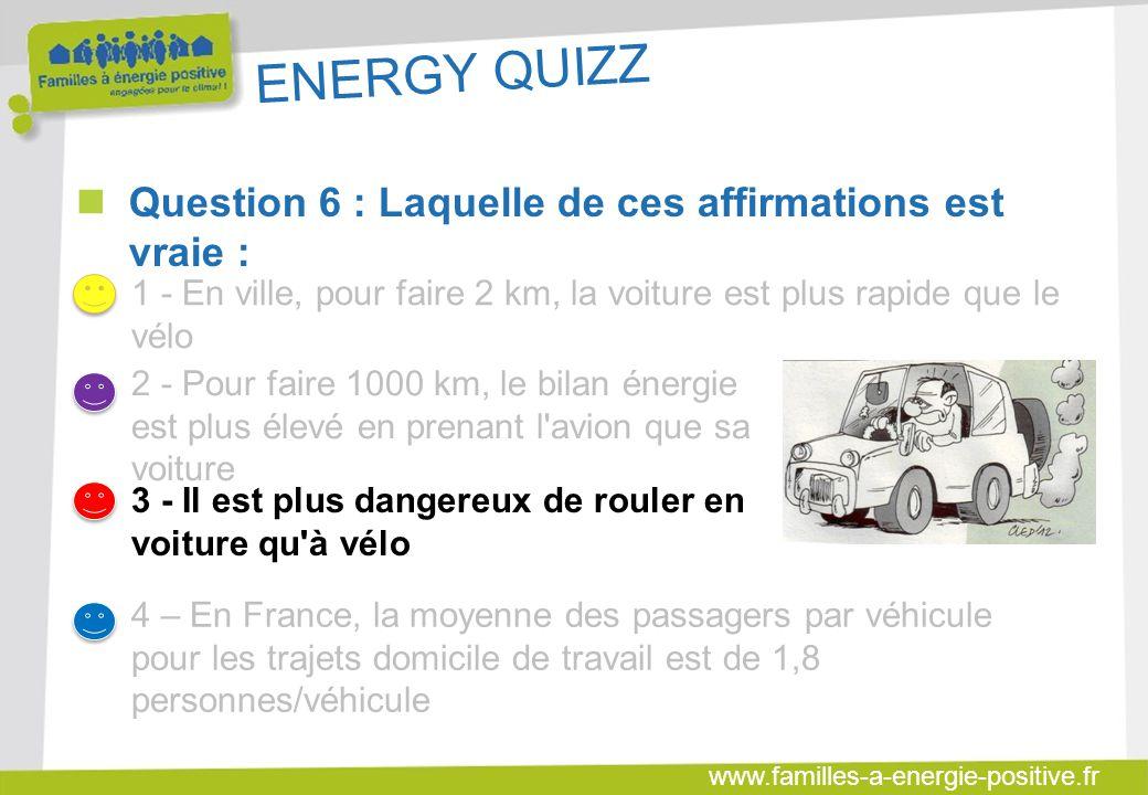 ENERGY QUIZZ Question 6 : Laquelle de ces affirmations est vraie :