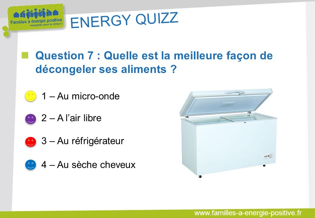 ENERGY QUIZZ Question 7 : Quelle est la meilleure façon de décongeler ses aliments 1 – Au micro-onde.