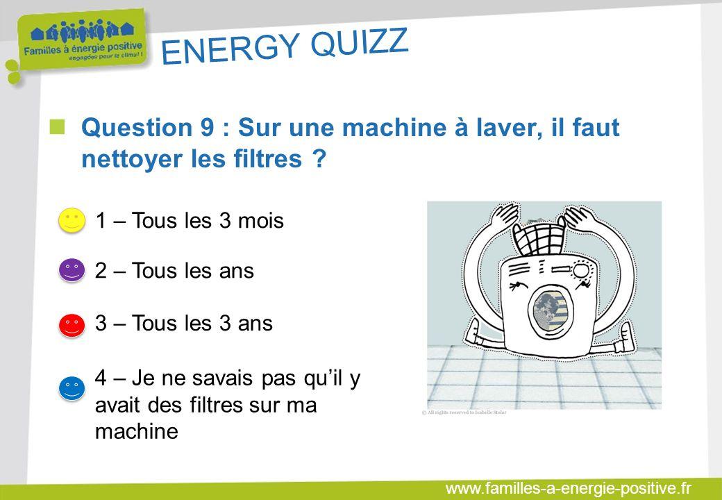 ENERGY QUIZZ Question 9 : Sur une machine à laver, il faut nettoyer les filtres 1 – Tous les 3 mois.