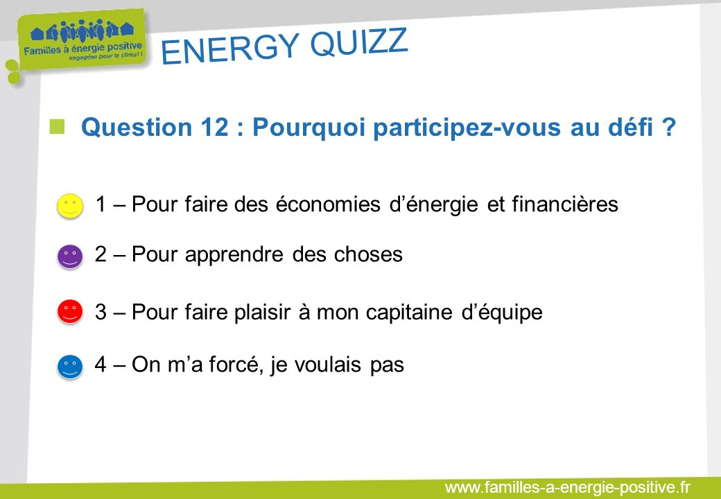 ENERGY QUIZZ Question 12 : Pourquoi participez-vous au défi