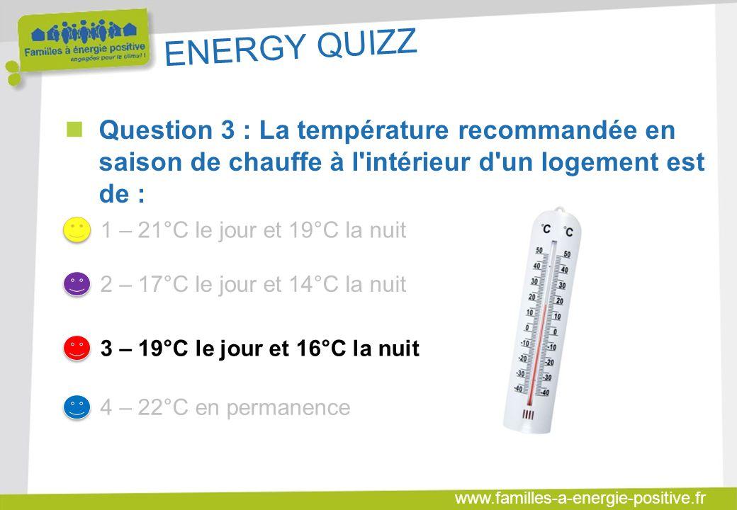 ENERGY QUIZZ Question 3 : La température recommandée en saison de chauffe à l intérieur d un logement est de :
