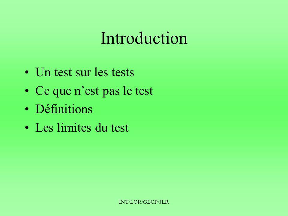 Introduction Un test sur les tests Ce que n'est pas le test