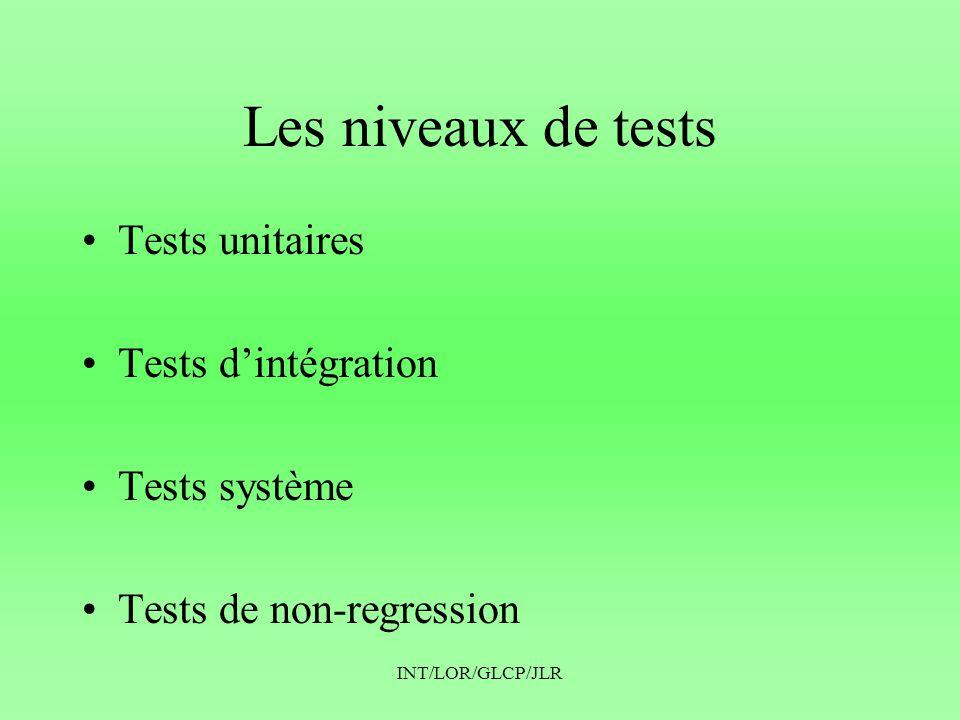Les niveaux de tests Tests unitaires Tests d'intégration Tests système