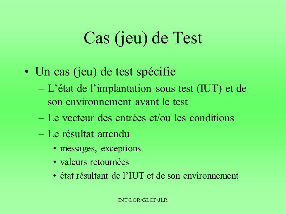 Cas (jeu) de Test Un cas (jeu) de test spécifie