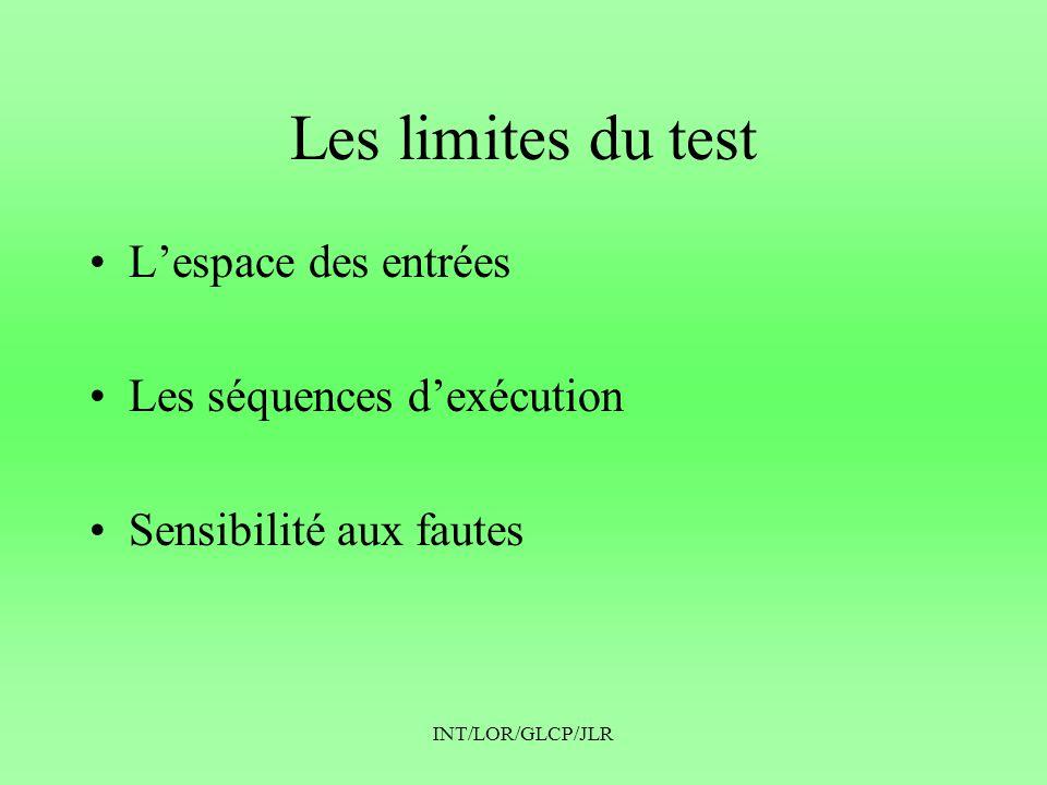 Les limites du test L'espace des entrées Les séquences d'exécution