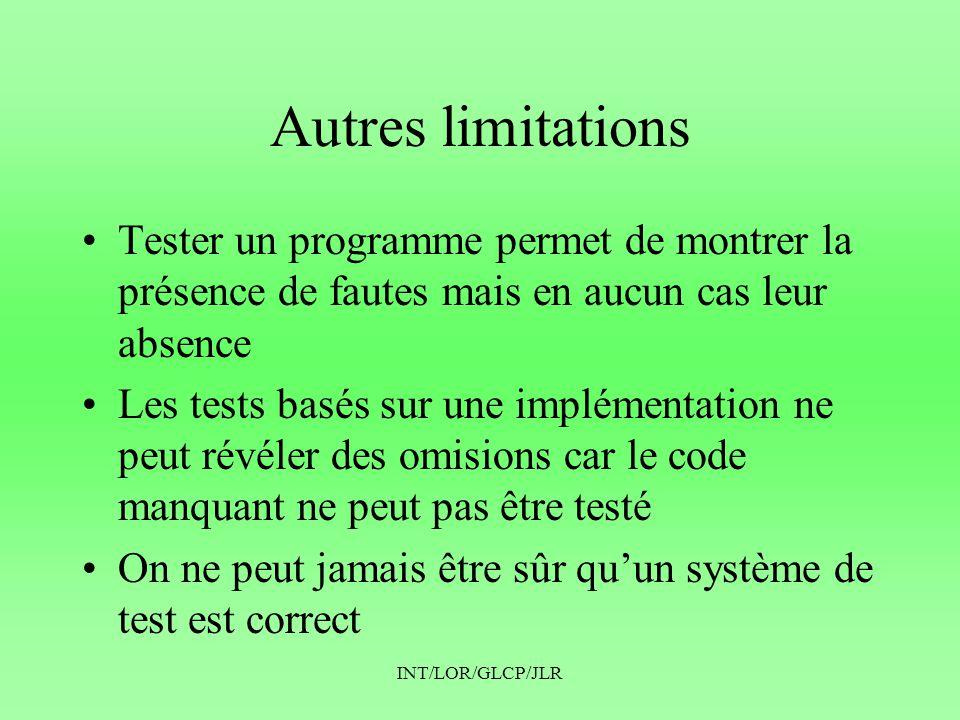 Autres limitations Tester un programme permet de montrer la présence de fautes mais en aucun cas leur absence.