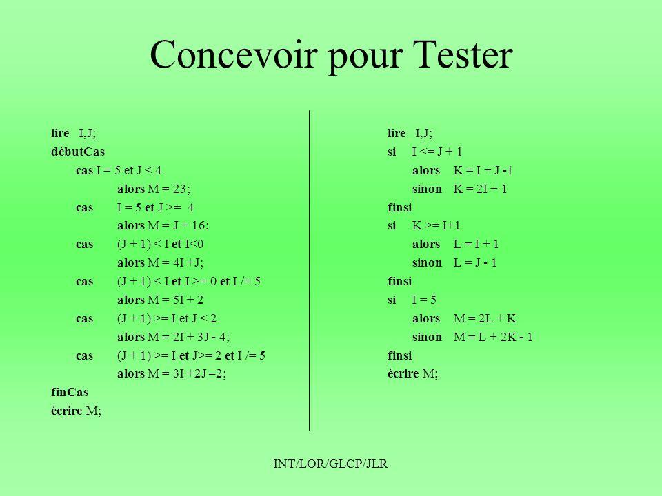 Concevoir pour Tester lire I,J; débutCas cas I = 5 et J < 4