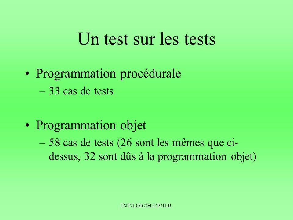 Un test sur les tests Programmation procédurale Programmation objet