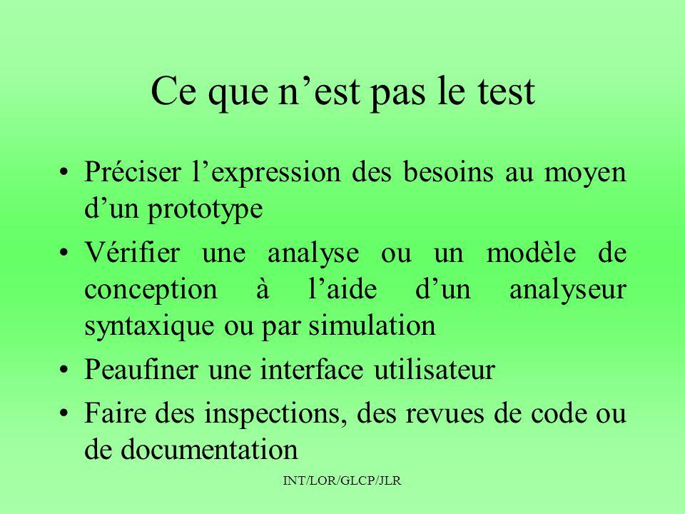 Ce que n'est pas le test Préciser l'expression des besoins au moyen d'un prototype.