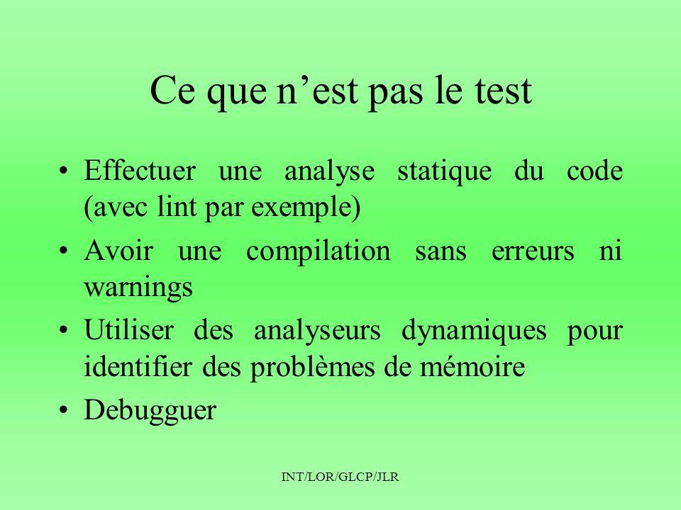 Ce que n'est pas le test Effectuer une analyse statique du code (avec lint par exemple) Avoir une compilation sans erreurs ni warnings.