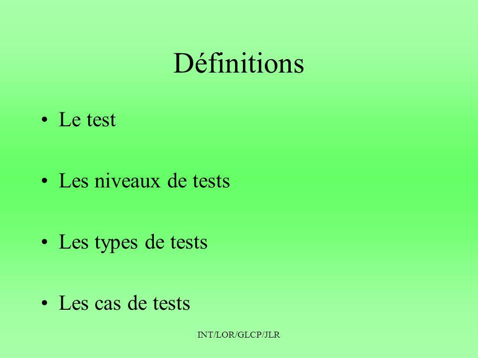 Définitions Le test Les niveaux de tests Les types de tests