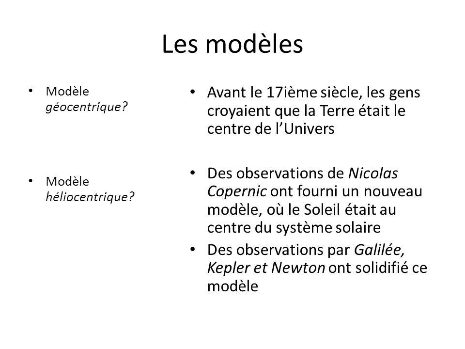 Les modèles Modèle géocentrique Modèle héliocentrique Avant le 17ième siècle, les gens croyaient que la Terre était le centre de l'Univers.