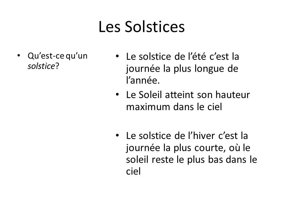 Les Solstices Qu'est-ce qu'un solstice Le solstice de l'été c'est la journée la plus longue de l'année.