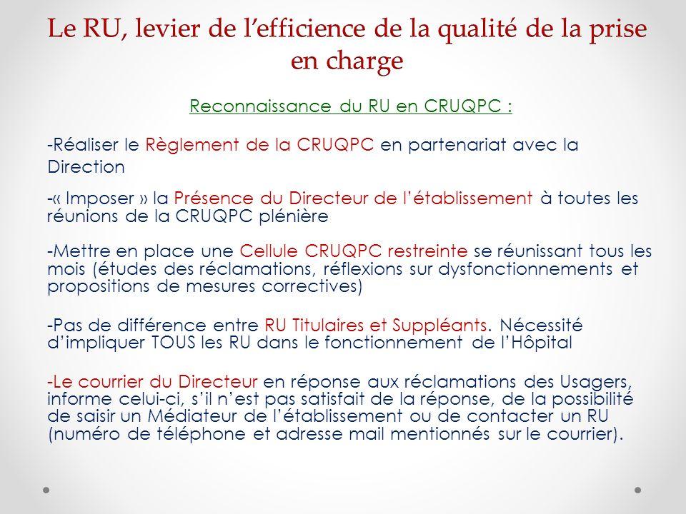 Le RU, levier de l'efficience de la qualité de la prise en charge