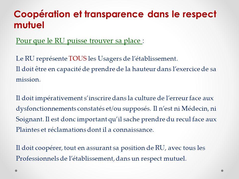 Coopération et transparence dans le respect mutuel