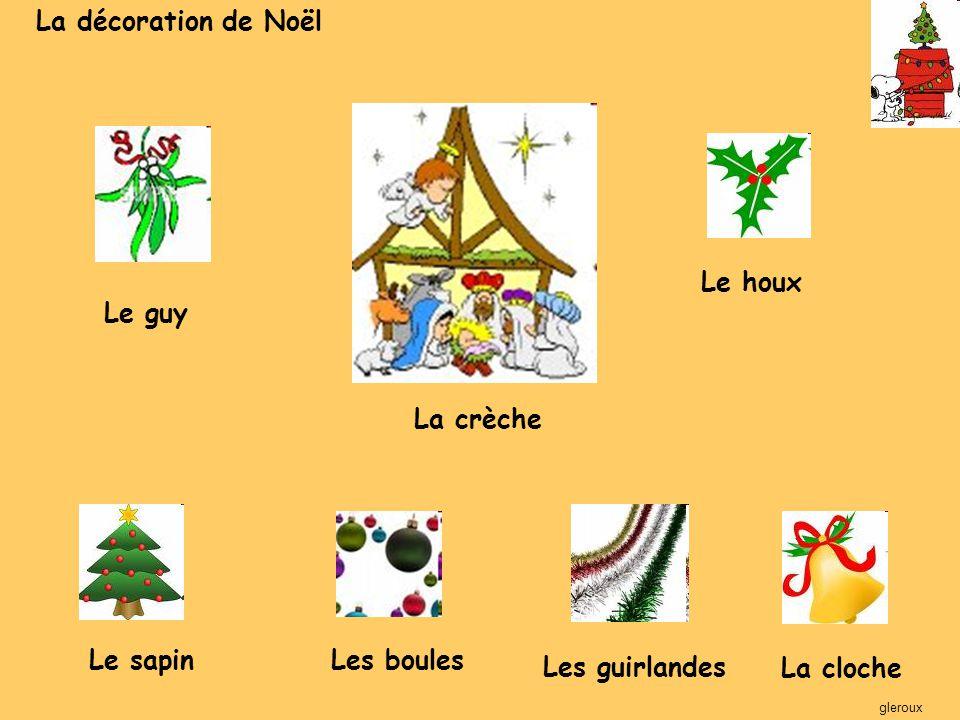 La décoration de Noël Le houx Le guy La crèche Le sapin Les boules