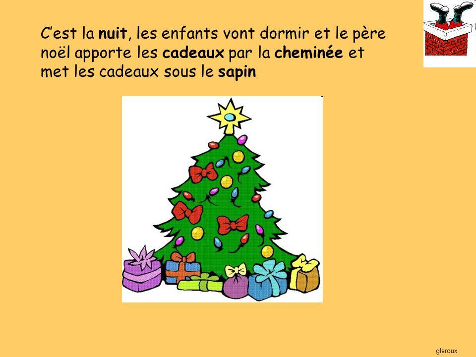 C'est la nuit, les enfants vont dormir et le père noël apporte les cadeaux par la cheminée et met les cadeaux sous le sapin