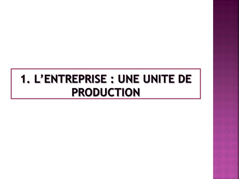 1. L'ENTREPRISE : UNE UNITE DE PRODUCTION