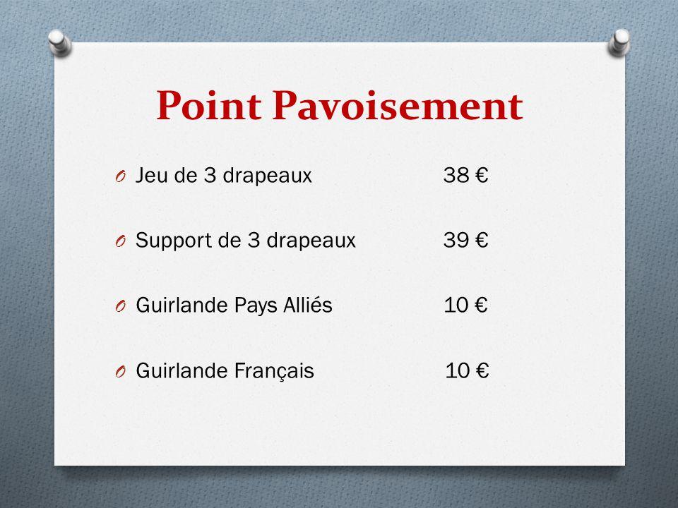 Point Pavoisement Jeu de 3 drapeaux 38 € Support de 3 drapeaux 39 €
