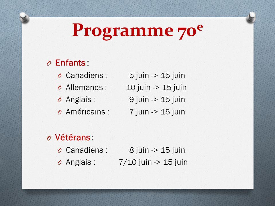 Programme 70e Enfants : Vétérans : Canadiens : 5 juin -> 15 juin