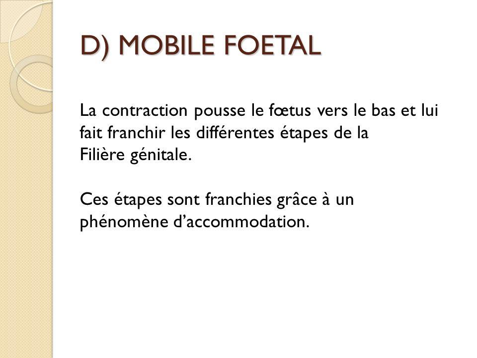 D) MOBILE FOETAL La contraction pousse le fœtus vers le bas et lui fait franchir les différentes étapes de la.