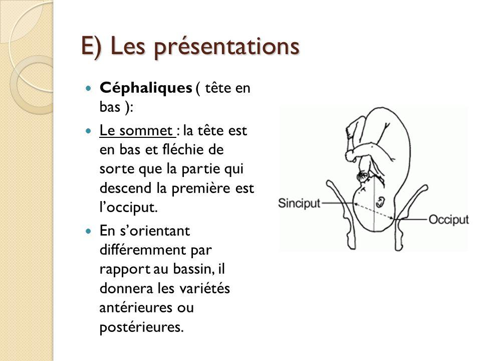 E) Les présentations Céphaliques ( tête en bas ):