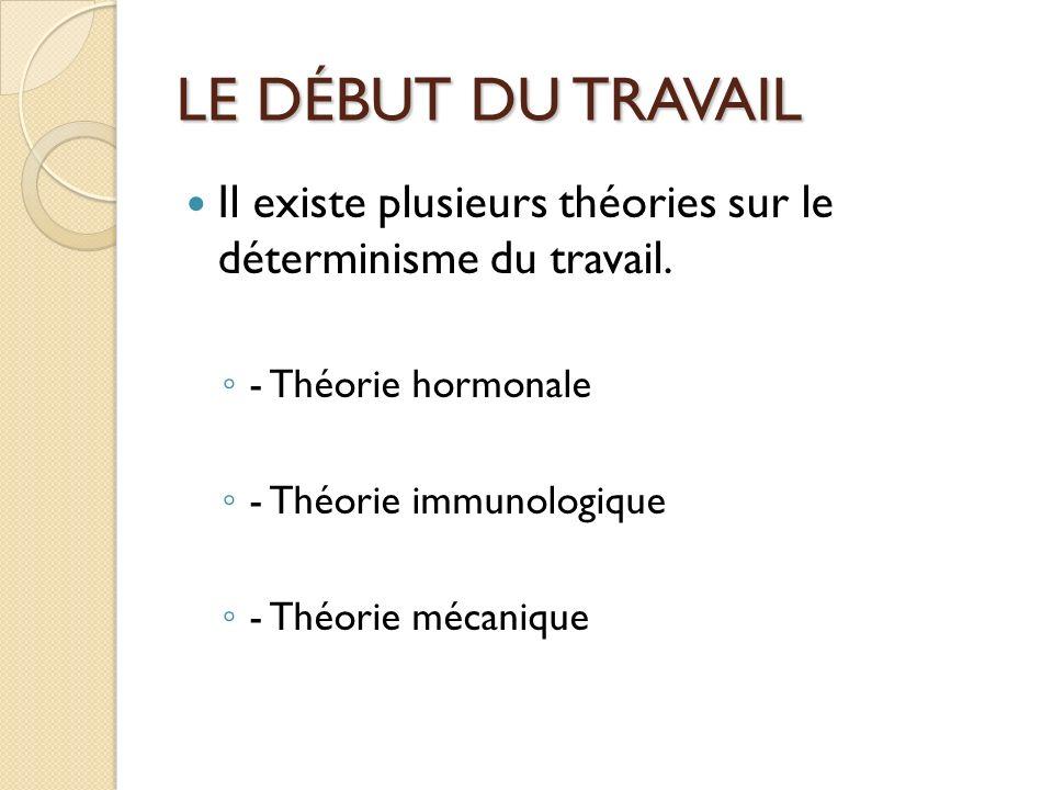 LE DÉBUT DU TRAVAIL Il existe plusieurs théories sur le déterminisme du travail. - Théorie hormonale.