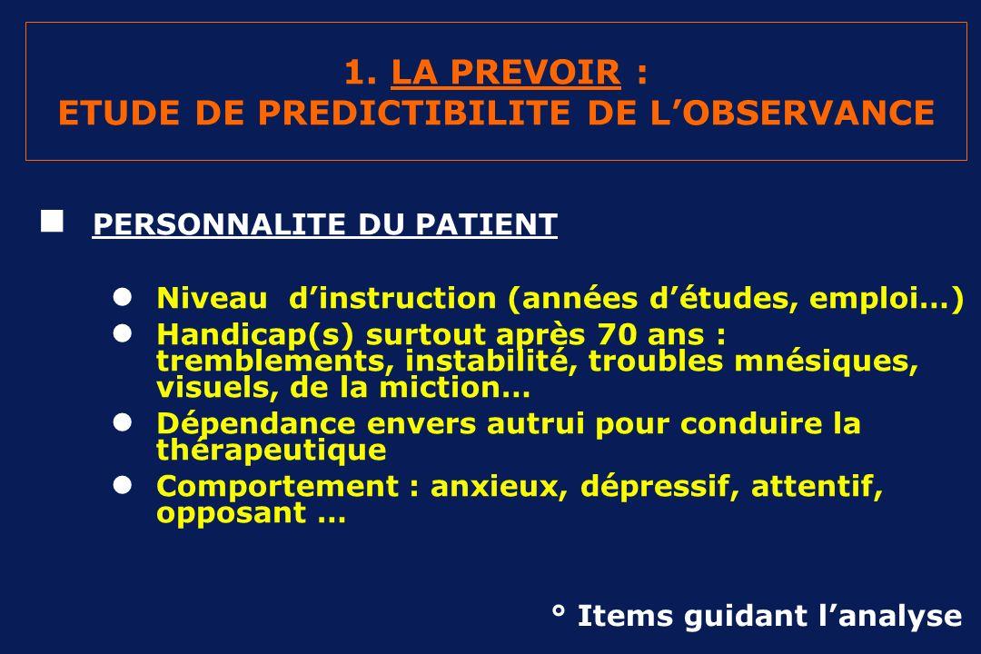 1. LA PREVOIR : ETUDE DE PREDICTIBILITE DE L'OBSERVANCE