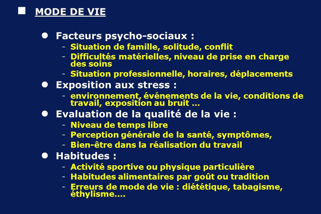 Facteurs psycho-sociaux :