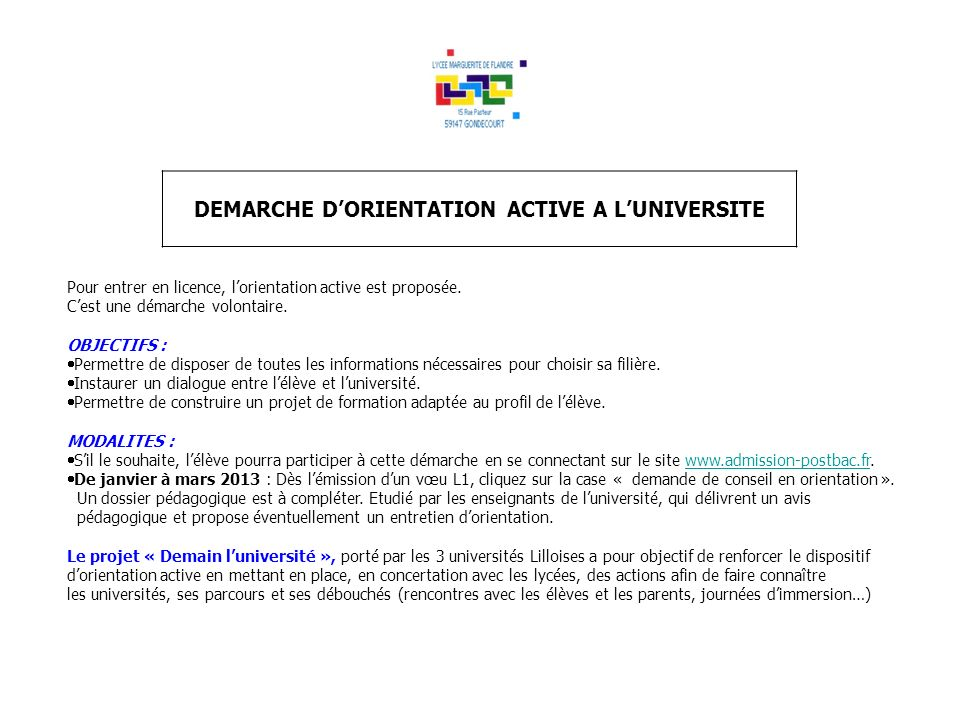 DEMARCHE D'ORIENTATION ACTIVE A L'UNIVERSITE
