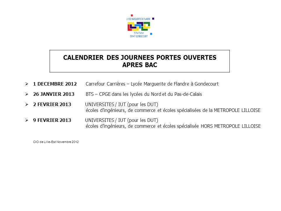 CALENDRIER DES JOURNEES PORTES OUVERTES