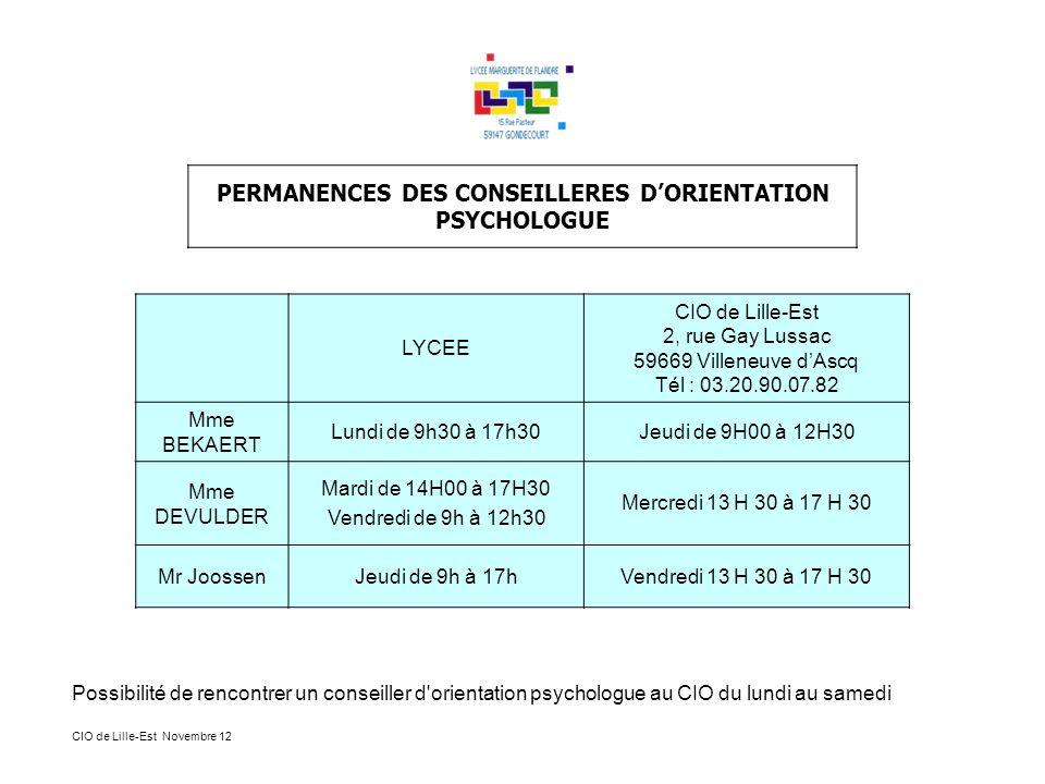 PERMANENCES DES CONSEILLERES D'ORIENTATION PSYCHOLOGUE