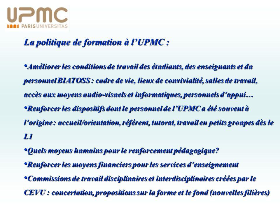 La politique de formation à l'UPMC :