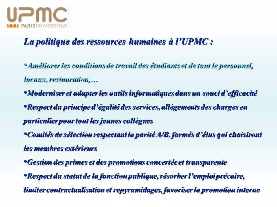 La politique des ressources humaines à l'UPMC :
