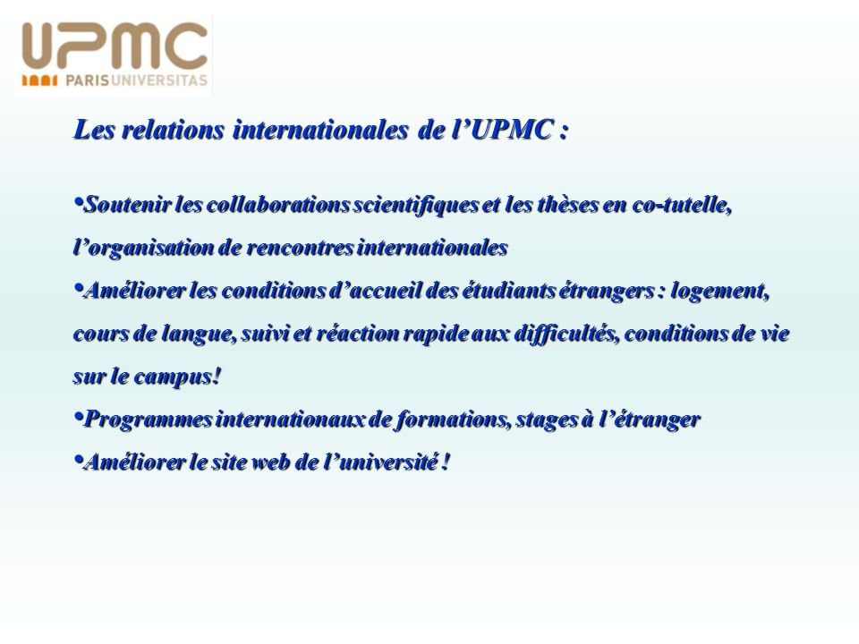 Les relations internationales de l'UPMC :