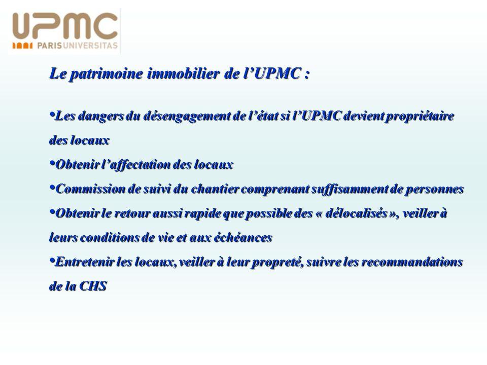 Le patrimoine immobilier de l'UPMC :