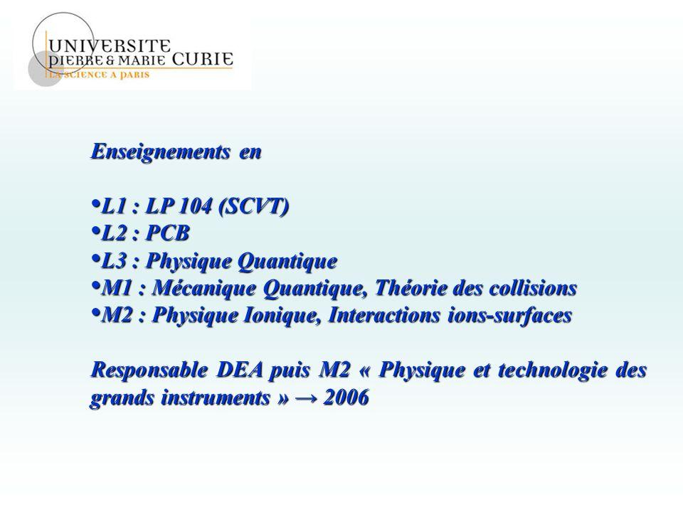 Enseignements en L1 : LP 104 (SCVT) L2 : PCB. L3 : Physique Quantique. M1 : Mécanique Quantique, Théorie des collisions.