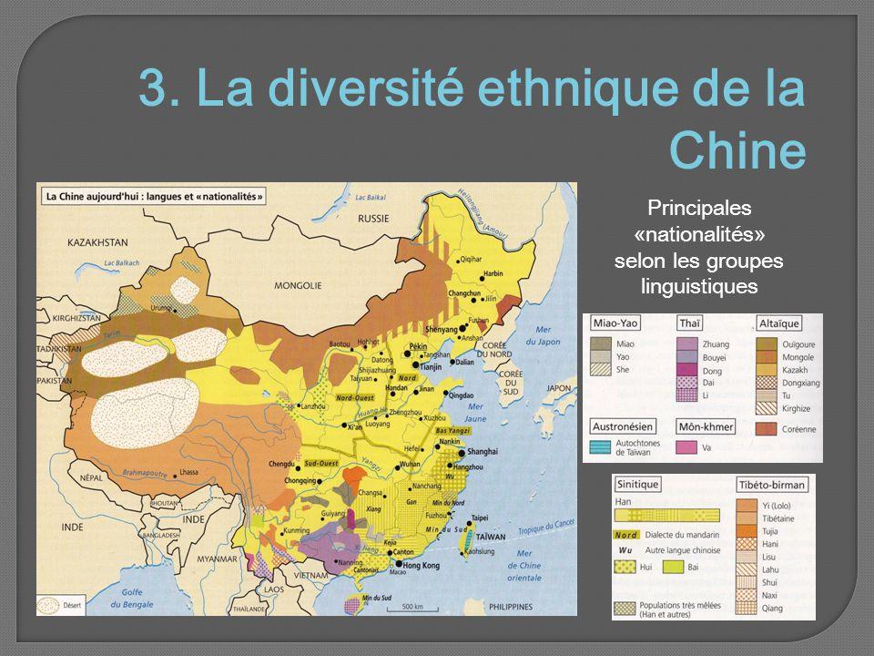Principales «nationalités» selon les groupes linguistiques