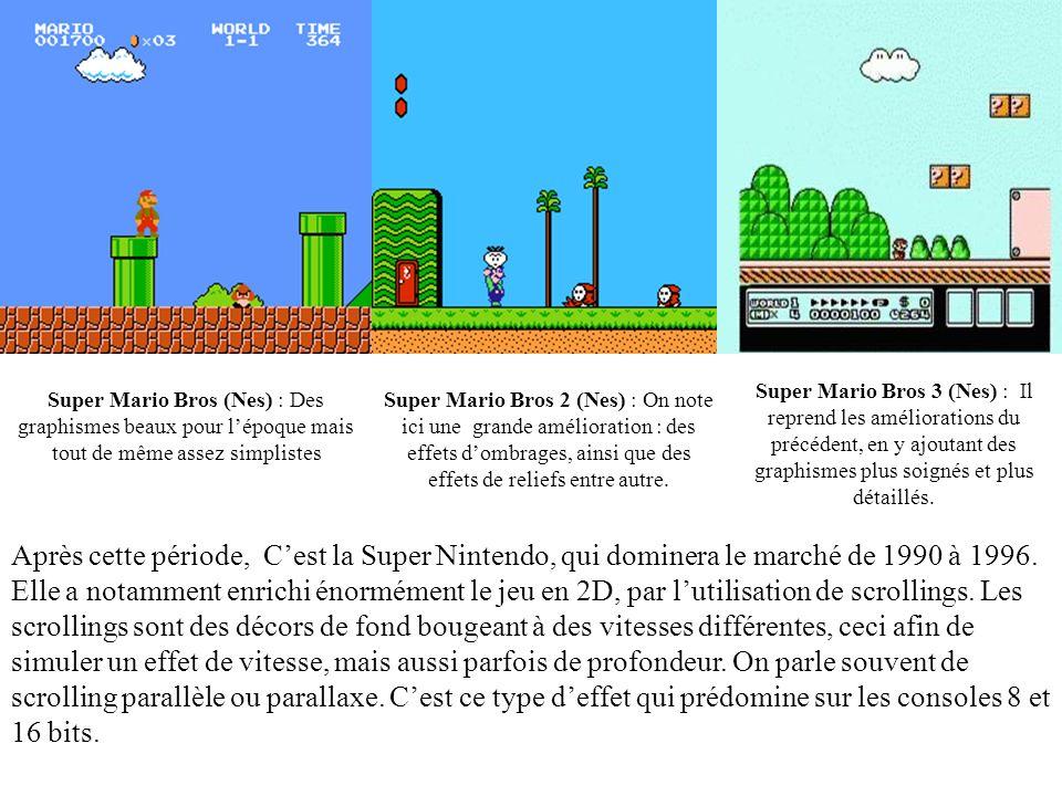 Super Mario Bros 3 (Nes) : Il reprend les améliorations du précédent, en y ajoutant des graphismes plus soignés et plus détaillés.