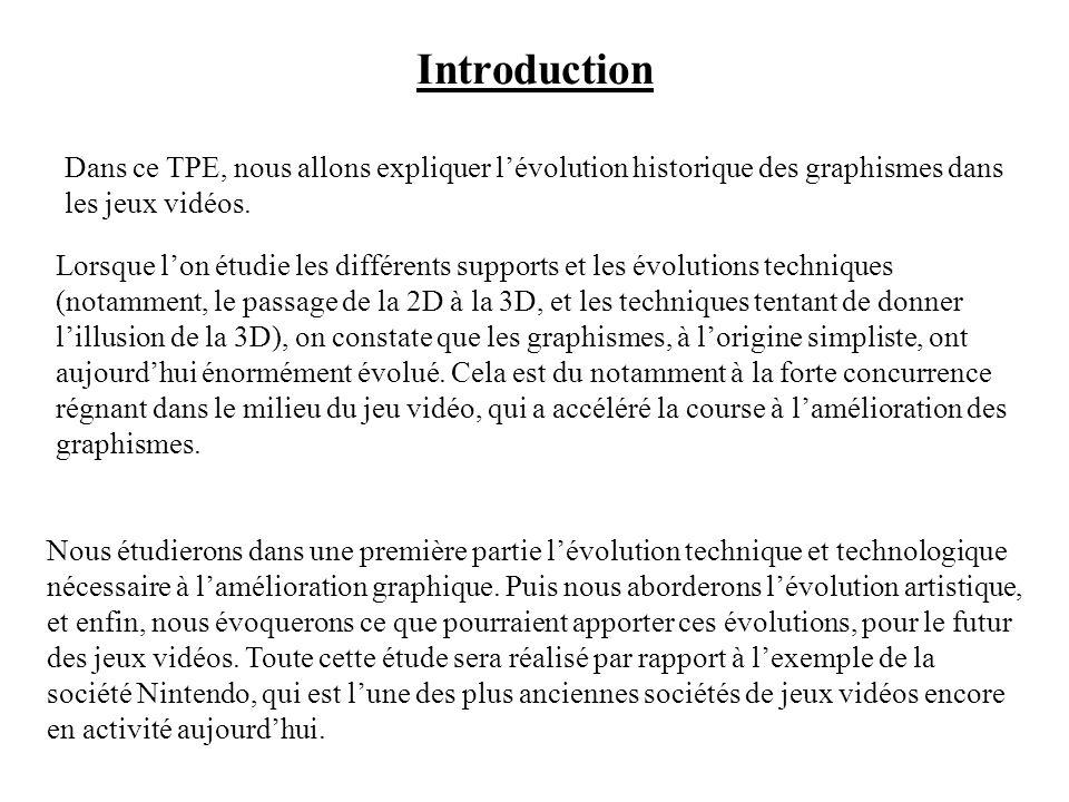 Introduction Dans ce TPE, nous allons expliquer l'évolution historique des graphismes dans les jeux vidéos.