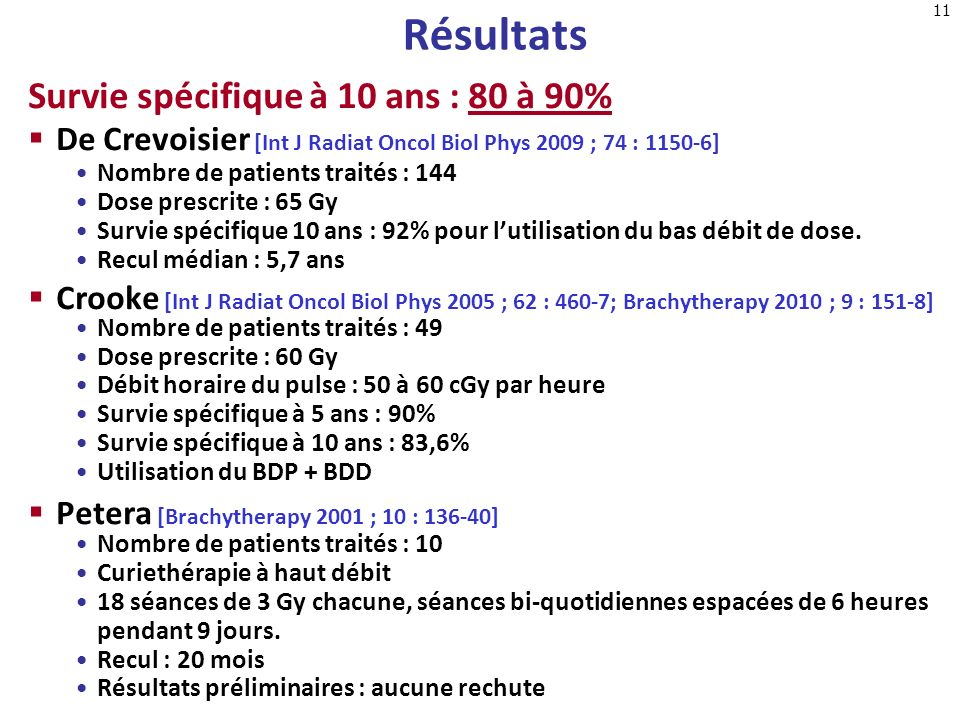 Résultats Survie spécifique à 10 ans : 80 à 90%