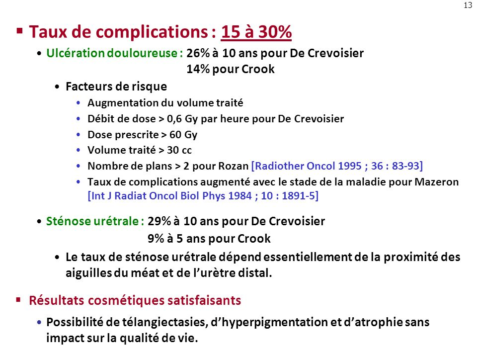 Taux de complications : 15 à 30%
