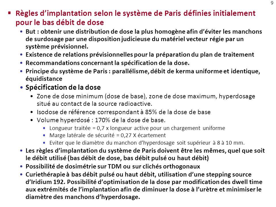 Règles d'implantation selon le système de Paris définies initialement pour le bas débit de dose