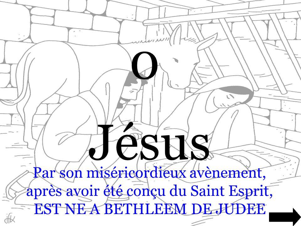 Jésus Par son miséricordieux avènement, après avoir été conçu du Saint Esprit, EST NE A BETHLEEM DE JUDEE.