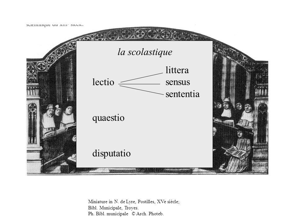la scolastique littera sensus lectio sententia quaestio disputatio