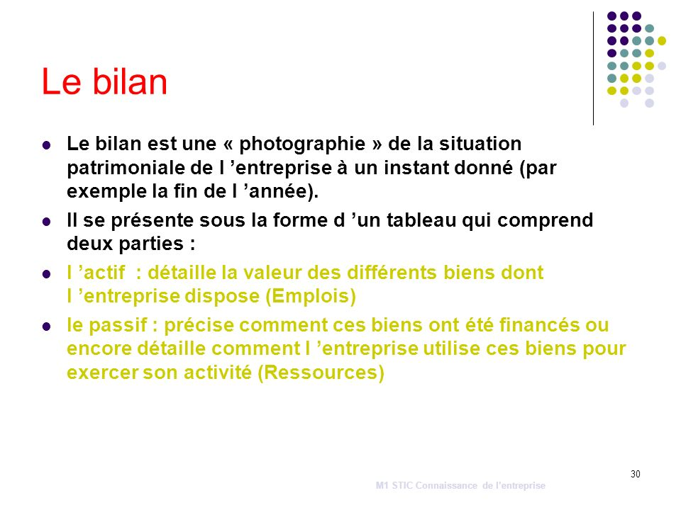 Le bilan Le bilan est une « photographie » de la situation patrimoniale de l 'entreprise à un instant donné (par exemple la fin de l 'année).