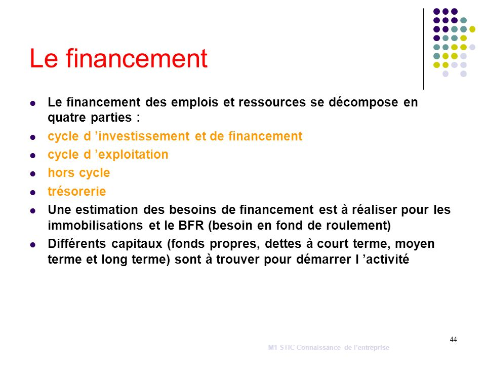 Le financementLe financement des emplois et ressources se décompose en quatre parties : cycle d 'investissement et de financement.