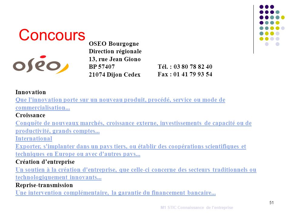 Concours OSEO Bourgogne Direction régionale