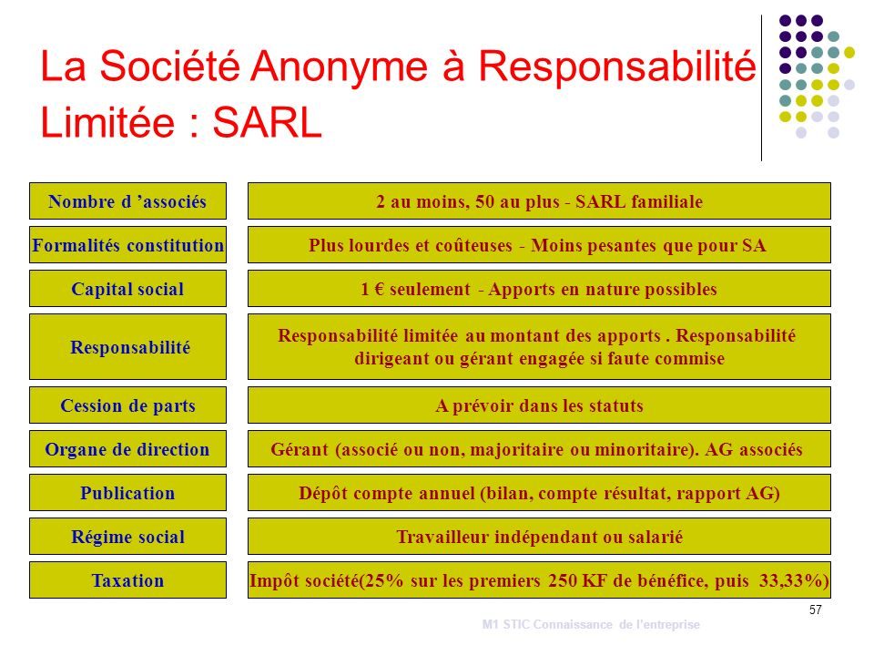 La Société Anonyme à Responsabilité Limitée : SARL